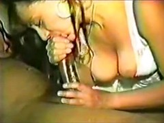 White slut in lace lingerie sits on hard black cock and her pussy stretches