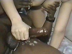 Mindblowing interracial amateur handjob with white whore tugging BBC